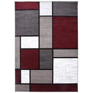 Polypropylene Contemporary Modern Boxes Red Area Rug - 9' x 12'