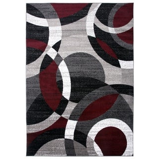 """Contemporary Modern Circles Abstract Red Area Rug - 3'3"""" x 5'"""