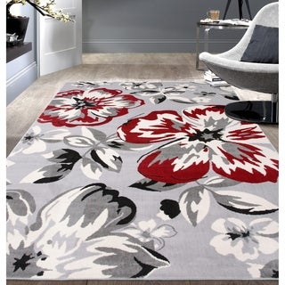 """Modern Floral Circles Red Area Rug - 3'1"""" x 5'"""