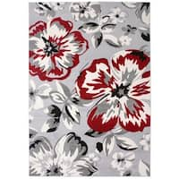 OTSI Modern Floral Circles Red/Grey/Black Jute Area Rug (10'x14')