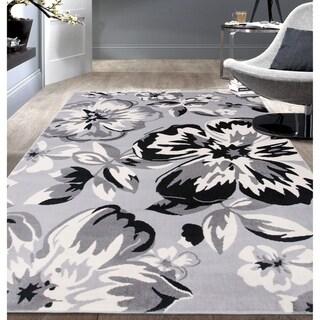 "Modern Floral Circles Gray Area Rug - 3'1"" x 5'"