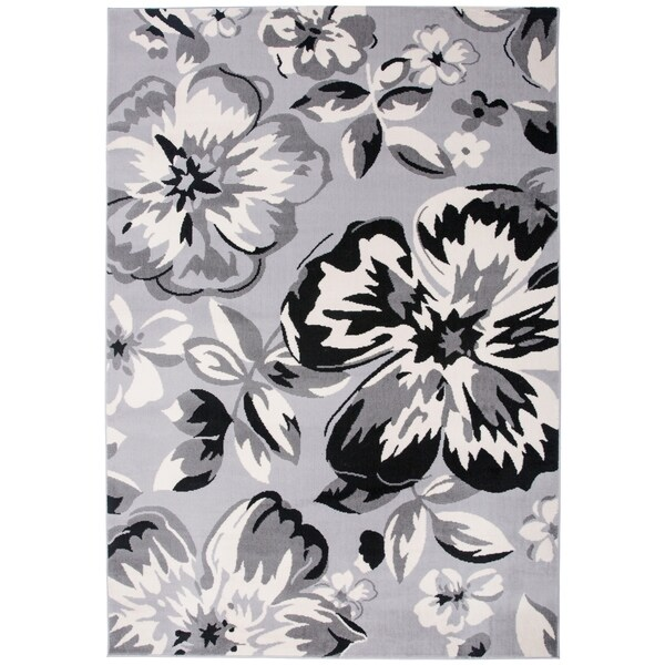 a55f181f688 Shop Modern Floral Circles Gray Area Rug - 9  x 12  - On Sale - Free ...