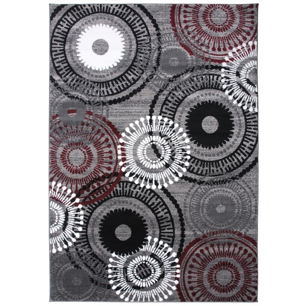 """Contemporary Circles Red Area Rug - 3'3"""" x 5'"""