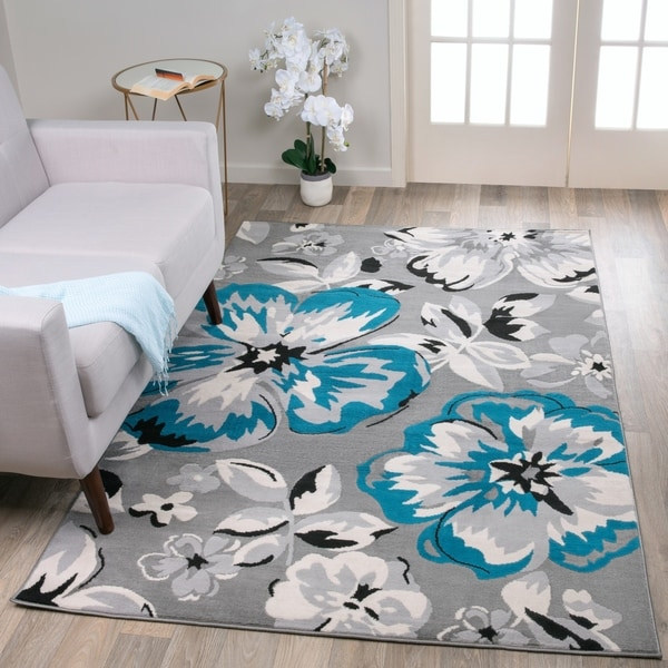 Modern Floral Circles Blue Area Rug - 9' x 12'