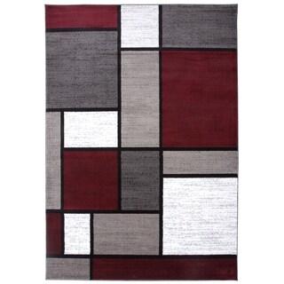 "Polypropylene Contemporary Modern Boxes Red Area Rug - 3'3"" x 5'"