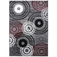 Contemporary Circles Red Rug - 2' x 3'
