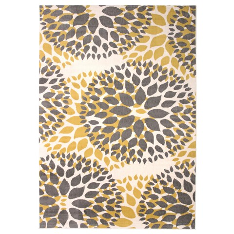 """Modern Floral Design Yellow Area Rug - 3'1"""" x 5'"""