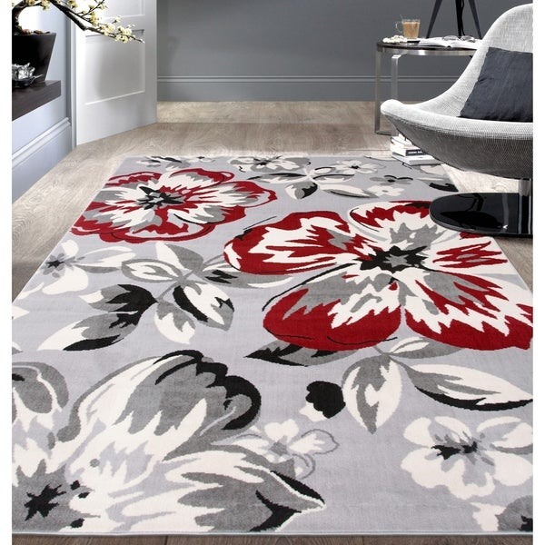 """Modern Floral Circles Red Area Rug - 6'6"""" x 9'"""