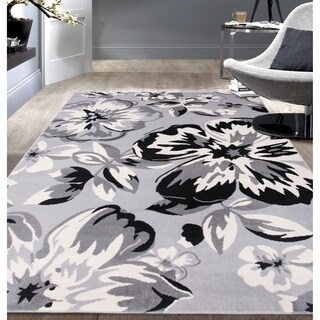 Modern Floral Circles Gray Area Rug - 5' x 7'
