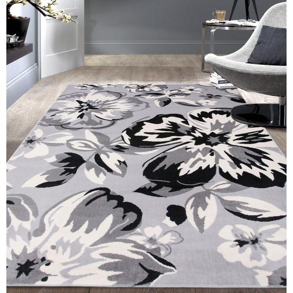 "Modern Floral Circles Gray Area Rug - 6'6"" x 9'"