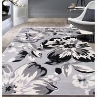"Modern Floral Circles Gray Area Rug - 6' 6"" x 9'"