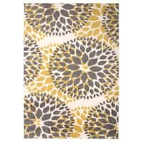 "Modern Floral Design Yellow Area Rug - 7' 6"" x 9'5"""