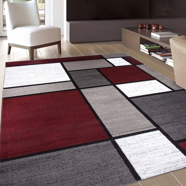 Contemporary Modern Bo Red Area Rug