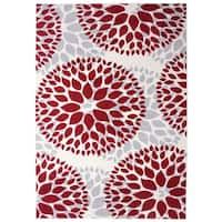 Modern Floral Design Red Area Rug - 9' x 12'