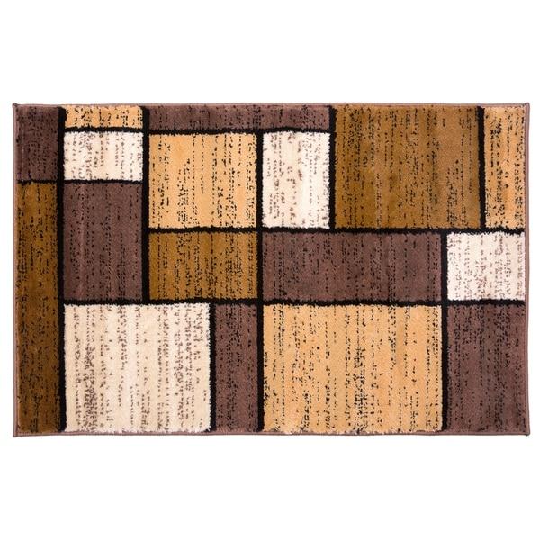 Polypropylene Contemporary Modern Boxes Brown Rug - 2' x 3'