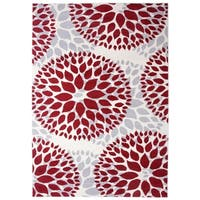 Osti Modern Floral Design Red Area Rug (10' x 14')