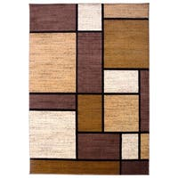 """Osti Brown Boxes Contemporary Modern Area Rug - 7' 10"""" x 10'2"""""""