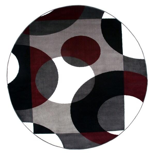 """Modern Circles Burgundy Round Area Rug - 6'6"""" round"""