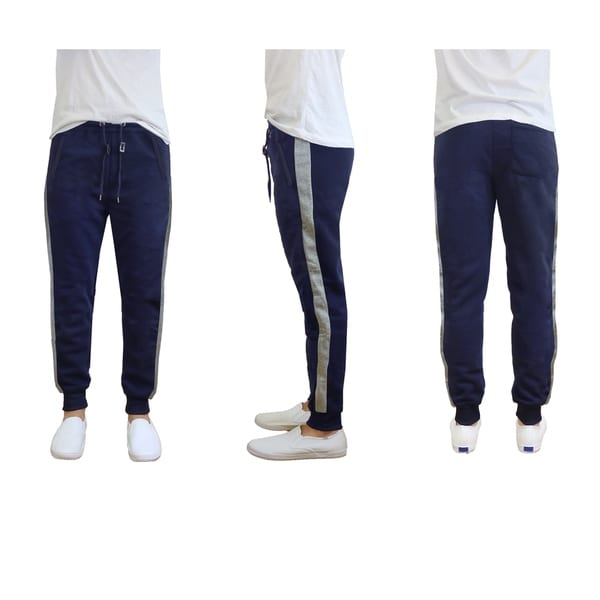 Galaxy by Harvic Mens Fleece Joggers with Contrast Stripe Trim