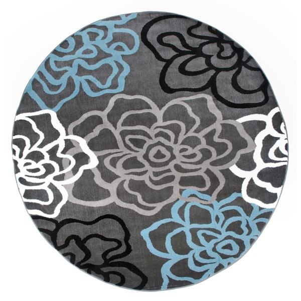 "Contemporary Modern Floral Flowers D.Grey Round Area Rug - 6'6"" round"