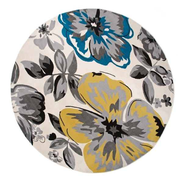 """Modern Floral Circles Cream Round Area Rug - 6'6"""" round"""