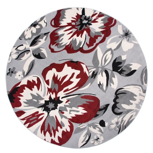 """Modern Floral Circles Red Round Area Rug - 6'6"""" Round"""