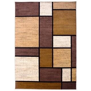 """Polypropylene Contemporary Modern Boxes Brown Area Rug - 3'3"""" x 5'"""