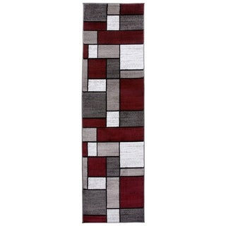 "Polypropylene Contemporary Modern Boxes Red Runner Rug - 2' x 7'2"" Runner"