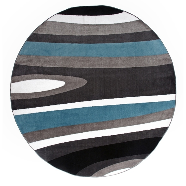 "Abstract Contemporary Modern Blue Round Area Rug - 6'6"" round"