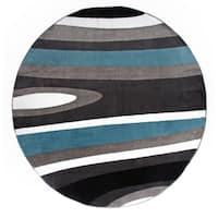 """Abstract Contemporary Modern Blue Round Area Rug - 6'6"""" round"""