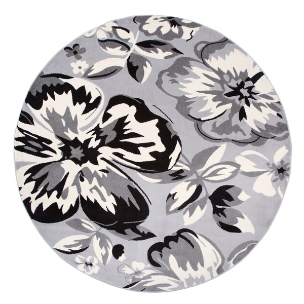 """Modern Floral Circles Gray Round Area Rug - 6'6"""" round"""