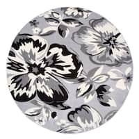 "Modern Floral Circles Gray Round Area Rug - 6'6"" round"