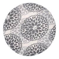 """Modern Floral Design Gray Round Area Rug - 6'6"""" round"""