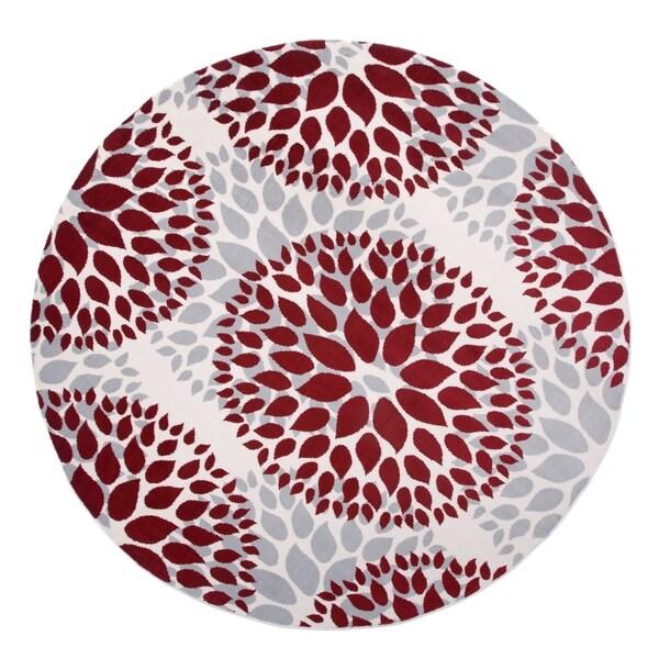"""Modern Floral Design Red Round Area Rug - 6'6"""" round"""