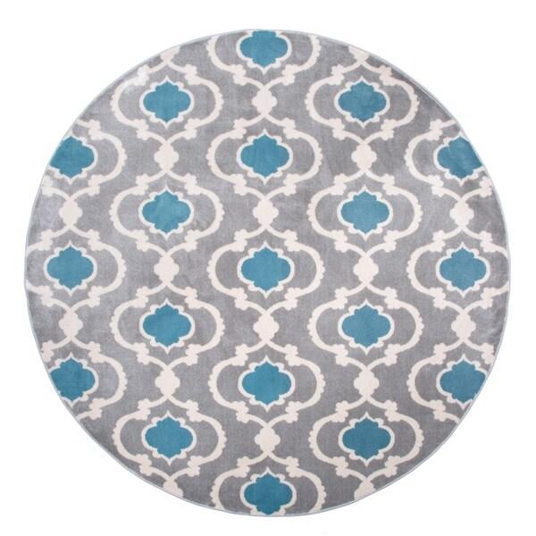 "Moroccan Trellis Contemporary Gray Round Area Rug - 6'6"" round"