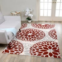 Modern Floral Design Red Area Rug - 5' x 7'