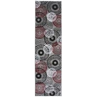 Contemporary Circles Red Runner Rug - 2' x 7' 2""