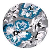 "Modern Floral Circles Blue Round Area Rug - 6'6"" round"