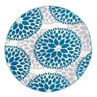 """Modern Floral Design Blue Round Area Rug - 6'6"""" round"""