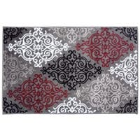 Modern Transitional Soft Damask Red Rug - 2'  x 3'