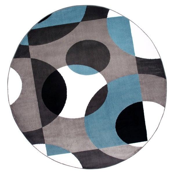 """Modern Circles Blue Round Area Rug - 6'6"""" round"""