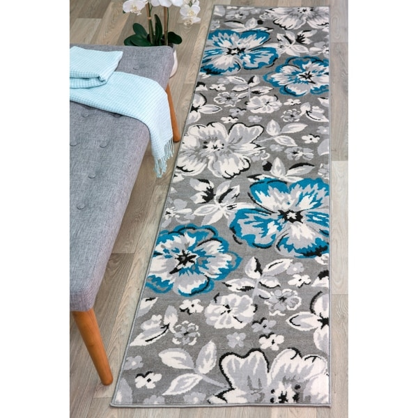 "Modern Floral Circles Blue Runner Rug - 2' x 7'2"" Runner"