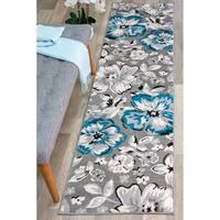 "Modern Floral Circles Blue Runner Rug - 2' x 7' 2"""