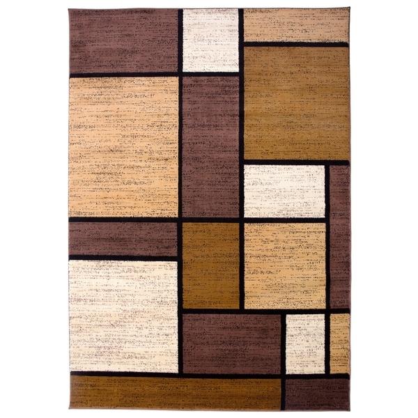 """Polypropylene Contemporary Modern Boxes Brown Area Rug - 5'3"""" x 7'3"""""""