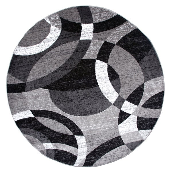 """Contemporary Modern Circles Abstract Grey Round Area Rug - 6'6"""" round"""