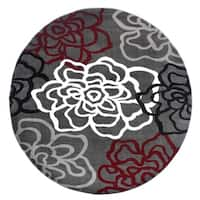 """Contemporary Modern Floral Flowers Red-Grey Round Area Rug - 6'6"""" round"""
