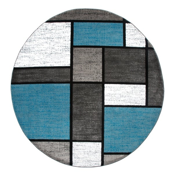 "Polypropylene Contemporary Modern Boxes Blue-Grey Round Area Rug - 6'6"" round"