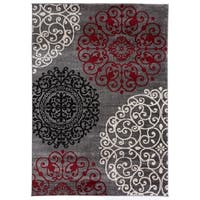 OSTI Red/Grey Floral Contemporary Modern Area Rug (9' x 12')