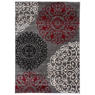 """Contemporary Modern Floral Red Area Rug - 3'3"""" x 5'"""