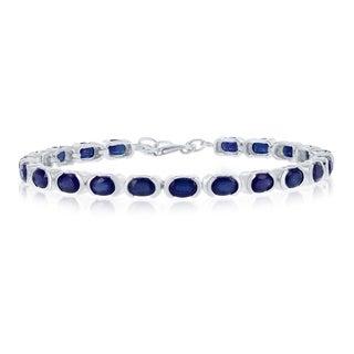 Link to La Preciosa Sterling Silver Italian High Polish Sapphire or Ruby 4X6 Oval Gemstone Tennis Bracelet Similar Items in Bracelets